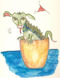 Zeichnung: Gjuki, der kleine Drache